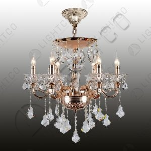 CHANDELIER 6 LIGHT WITH GLASS CUPS AND CRYSTALS