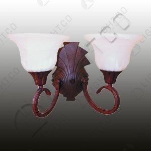 WALL LIGHT DOUBLE ARM WROUGHT IRON ALABASTER GLASS