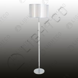 FLOOR LAMP CHROME ROD PATTERNED SHADE