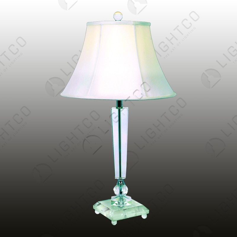 table lamp crystal base with white shade lightco. Black Bedroom Furniture Sets. Home Design Ideas