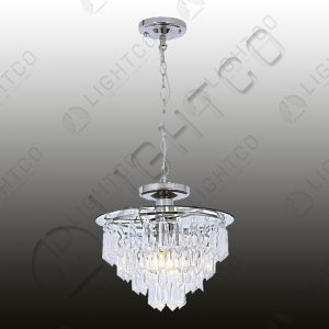 PENDANT CHROME WITH TIERED ACRYLIC CRYSTALS