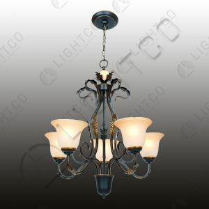 CHANDELIER 5 LIGHT WITH AMBER GLASSES