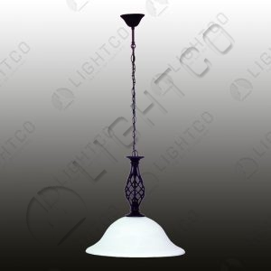 PENDANT WROUGHT IRON DOWN FACING GLASS BOWL