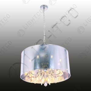 CHANDELIER SHADED 8 LIGHT PERSPEX SHADE WITH CRYSTALS
