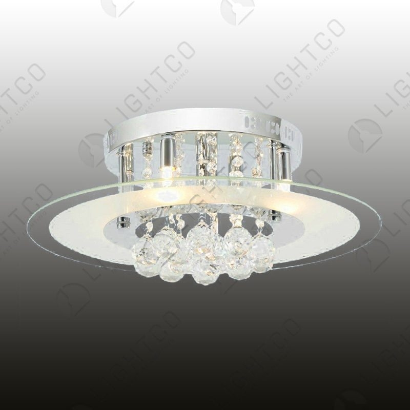 CEILING LIGHT ROUND GLASS AND CRYSTAL