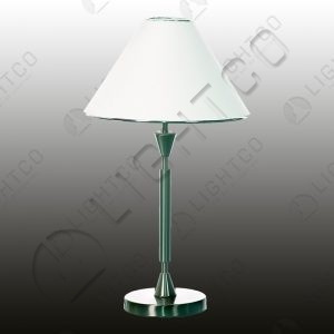 TABLE LAMP AND FABRIC SHADE AND CHROME TRIM