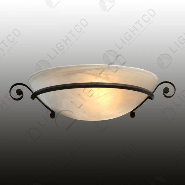 WALL LIGHT WITH WROUGHT IRON CURL