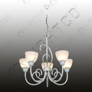 CHANDELIER 5 LIGHT WITH GLASSES