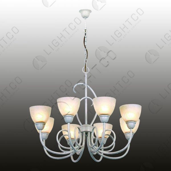 CHANDELIER 8 LIGHT WITH GLASSES