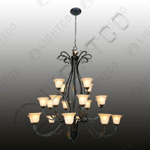 CHANDELIER 20 LIGHT WITH AMBER GLASSES