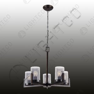 CHANDELIER 5 LIGHT WROUGHT IRON GLASS SHADES