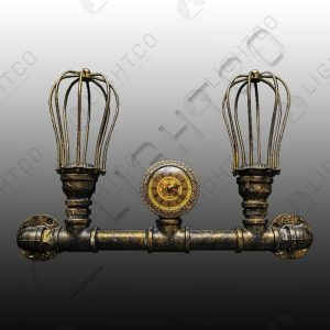 WALL LIGHT STEAMPUNK DOUBLE WITH CLOCK