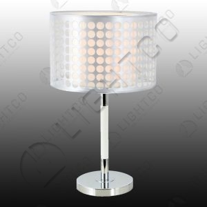 TABLE LAMP CHROME AND PATTERNED SHADE