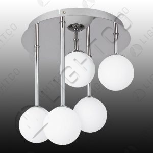 CEILING 5 LIGHT FROSTED GLASS ON FIXED RODS