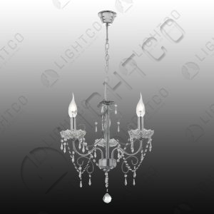 CHANDELIER 3 LIGHT CHROME AND CRYSTAL
